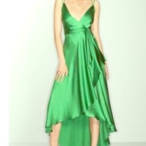 BCBGMaxAZria GREEN HAMMERED SILK WRAP GOWN…